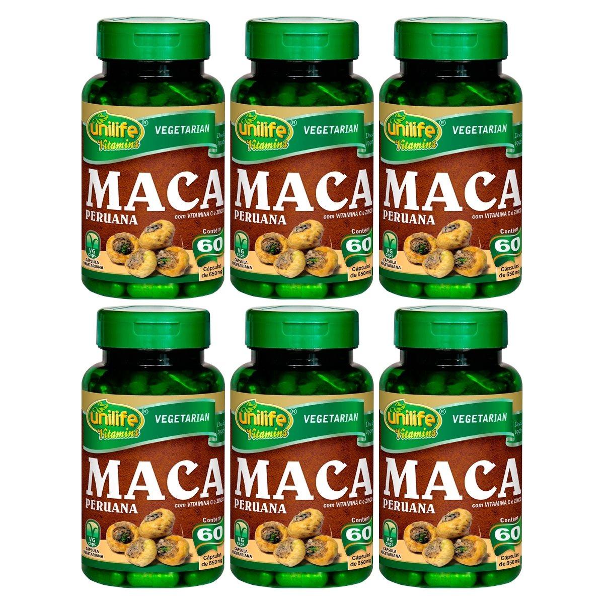 Maca Peruana Com Vitaminas 60 Cápsulas Unilife Kit 6 Unidades