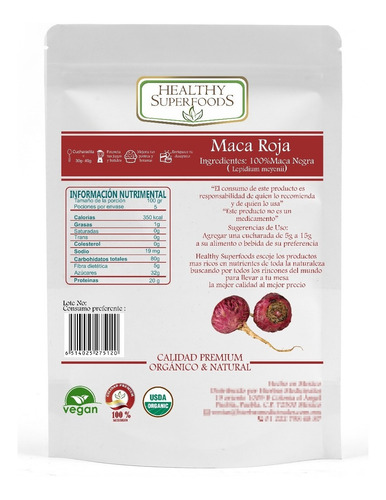 maca roja 500g premium orgánica