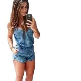 bcfc2bcfd Macaquinho Jeans Alça Alcinha Elastico Cintura Moda Verão