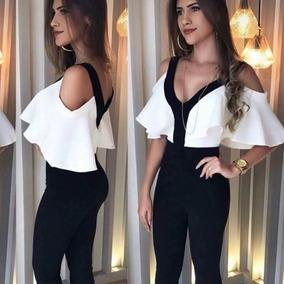 9d4cfa529 Macacão Longo Feminino Flare Com Babado Duplo Alta Moda