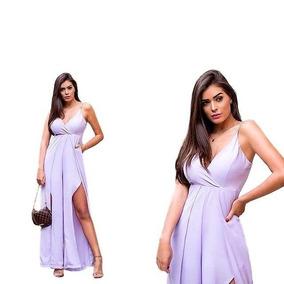 5ab1ba861 Macacão Feminino Pantalona Com Fenda E Alça Fina Lançamento