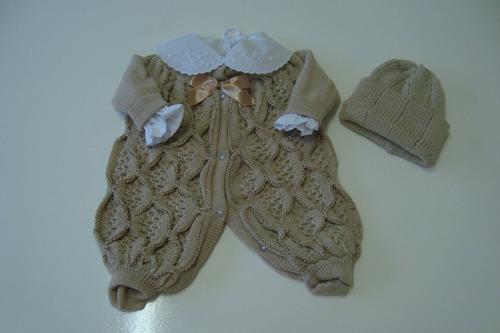 macacao camisa bordada touca bebe nene enxoval lã c/sed