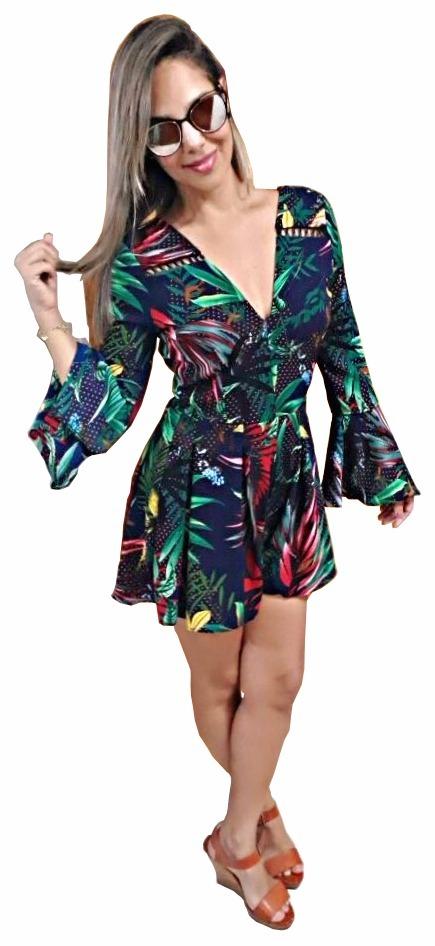 macacao curto macacao flare macacao curto feminino fashion. Carregando zoom. 37e98ef7e47e5