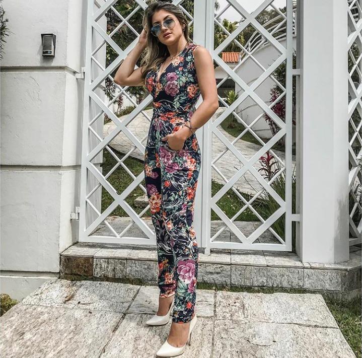 89cb1fd8a Macacao Feminino Longo Floral Com Licra - R$ 72,99 em Mercado Livre