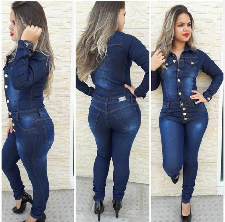 3fe13aab3 Macacao Jeans Com Botoes Manga Longa Novidade - R$ 179,99 em Mercado ...