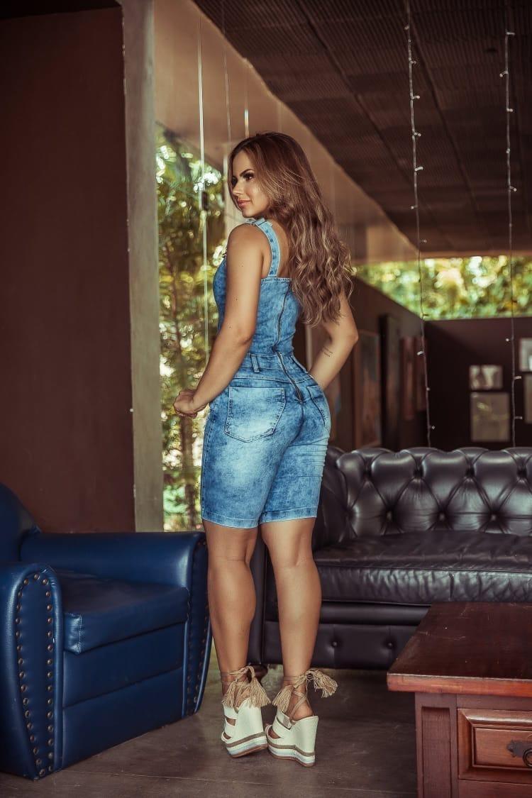 4241090d2 macacao jeans feminino pedal com lycra modeladora ref 0088. Carregando zoom.
