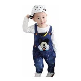 Macacão Jeans Infantil Jardineira Jeans Mikey Criança Menino