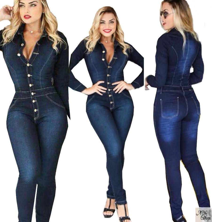 efd02c37d Macacao Jeans Manga Longa Com Botoes Com Bolso**** - R$ 169,99 em ...