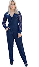 a9fa78e582dc Macacao Decotado - Macacão Feminino Azul-escuro com o Melhores ...