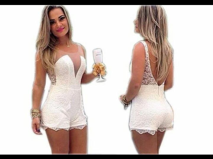83a025eb4249 Macacaquinho Macacão De Renda Decote Em Tule Vestido Curto - R$ 80 ...