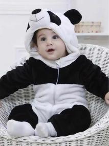 ccbaf35df84f79 Macacão Bebê Animais Pijama Fantasia Urso Panda Inverno Frio