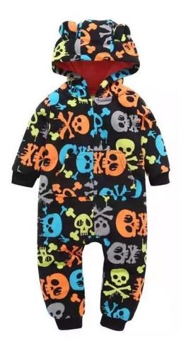 macacão bebê fleece soft com capuz rock'n roll