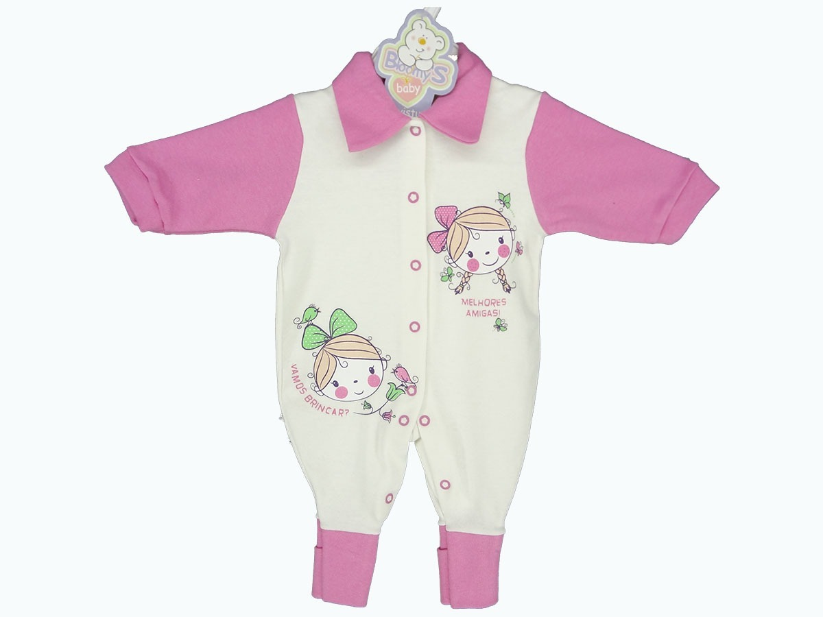7c26ea706e macacão bebê menina e menino romper longo de suedine bloom s. Carregando  zoom.