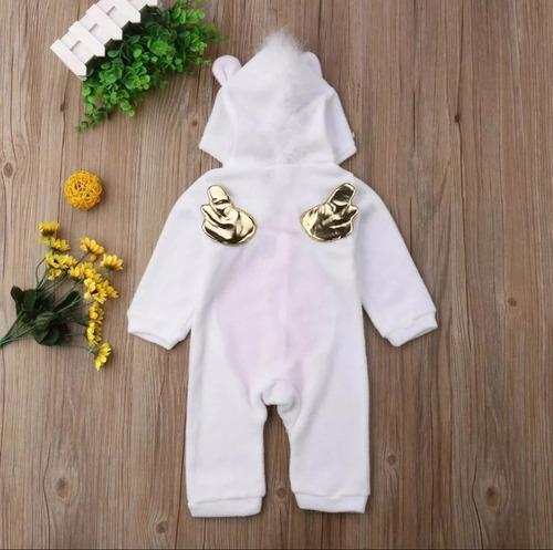 macacão bebê menina fleece fantasia unicórnio pijama capuz