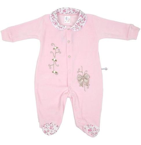 macacão bebê menina manga longa plush blu baby kit 3 peças