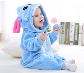 7121b77730f0f6 Macacão Bebê Pijama Bichinho Fantasia Stitch Azul C/ Ziper