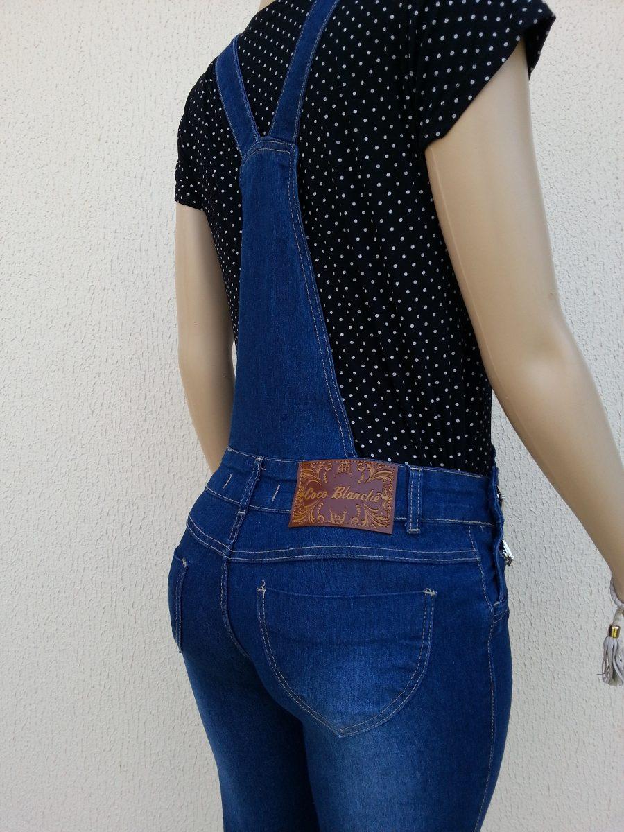 Macac o cal a jeans rasgado jardineira feminina comprido for Jardineira jeans feminina c a
