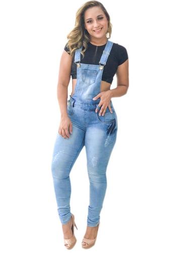 macacão calça jardineira jeans lycra longa 2019
