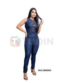 1a42fd53721e2 Jardineira Jeans Feminina Anita Curta - Macacão Azul-escuro Regata ...