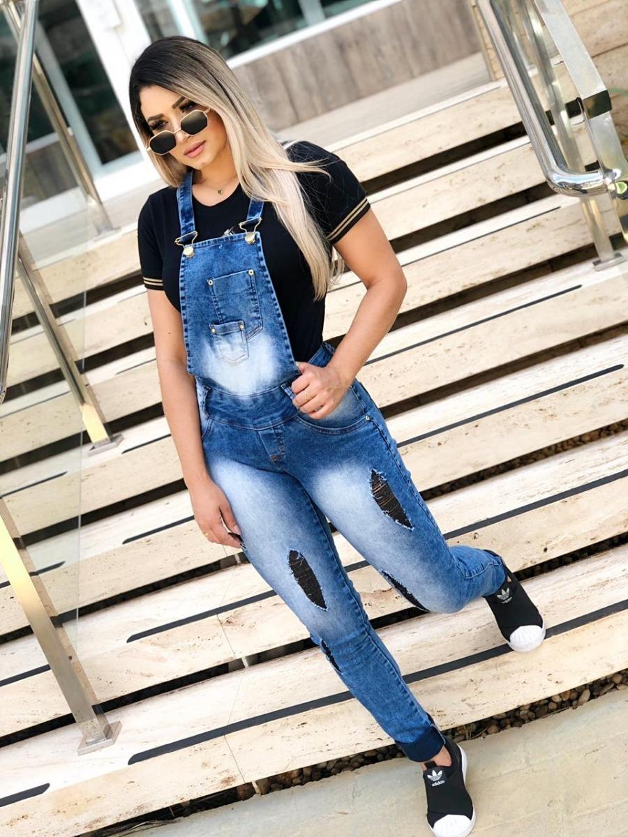 943ea7154f Macacão Calça Jeans Rasgado Jardineira Feminina Comprido! - R  89