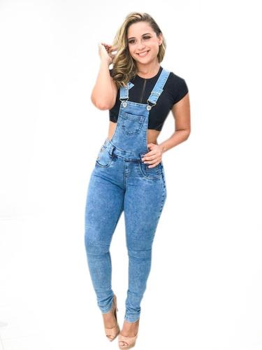 macacão calça longa jardineira jeans lycra verão 2019