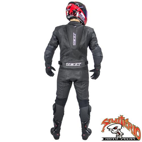 macacão couro moto 2 peças texx ghost preto 5xl 62