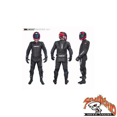 macacão couro moto 2 peças texx ghost preto m 50