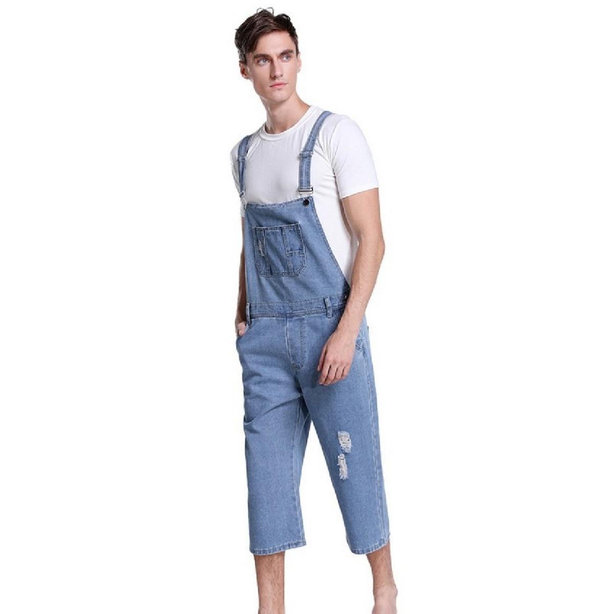 7dd937d12 macacão curto jardineira masculino jeans claro azul original. Carregando  zoom.