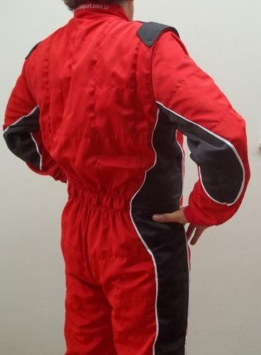 macacão de kart recorte lateral