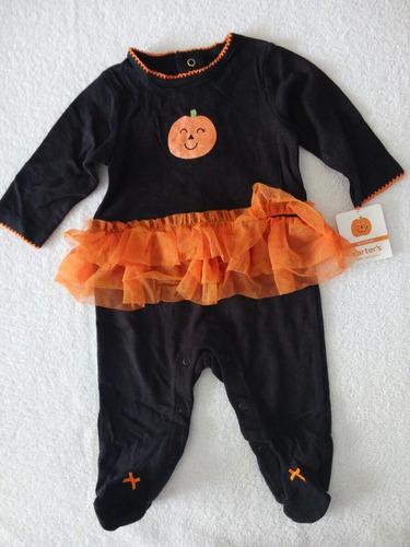 macacão de malha carter's preto com detalhes em laranja !