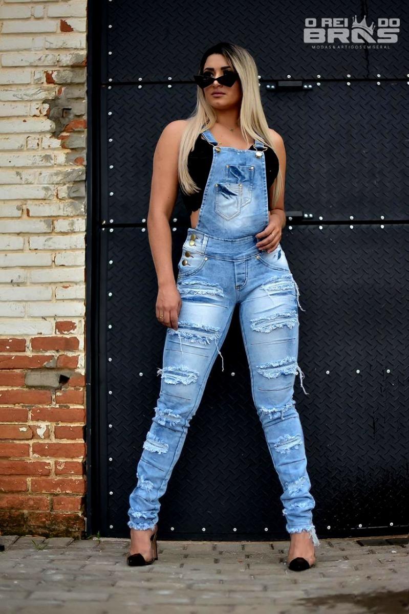 5531c0c53 Macacão Jeans Feminino Jardineira Calça Destroyer Envio Rápi - R$ 89 ...