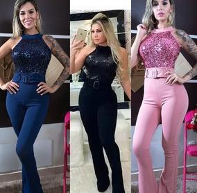 2c98920b097b6b Macacão Feminino Longo Paetê Luxo Festa Balada Macaquinho
