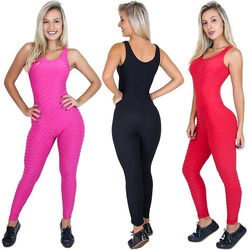 macacão feminino longo tecido bolha liso fitness panicat