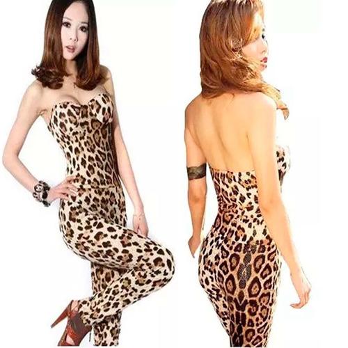 macacão feminino longo tomara que caia leopardo macaquinho