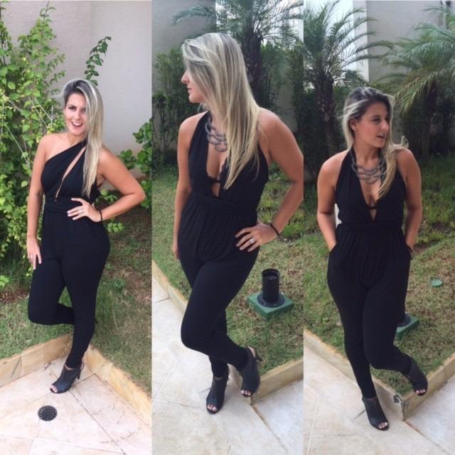 0e8e846269a467 Macacão Feminino Verão Viscolycra Com Bolso Promoção Balada