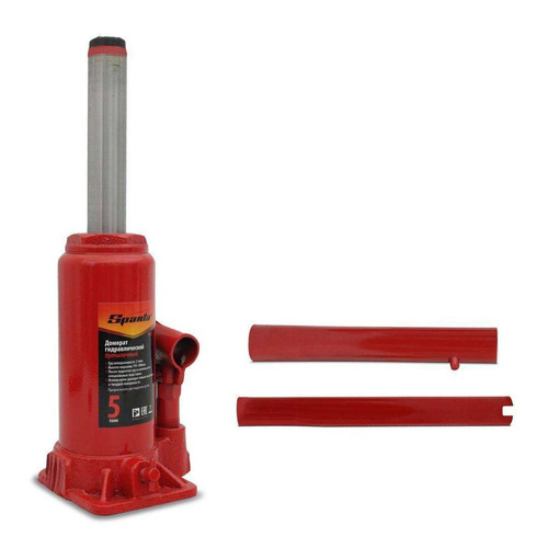 macaco hidraulico sparta garrafa 5 toneladas vermelho + luva