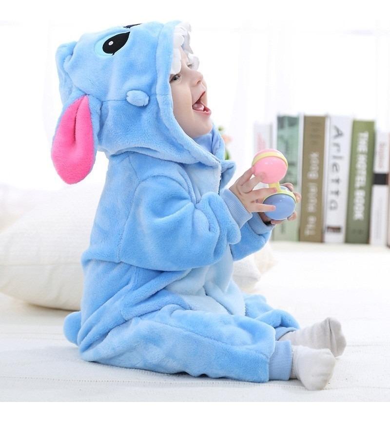 f8c8477c36557d Macacão Infantil Pijama Pelúcia Capuz Fantasia Stitch