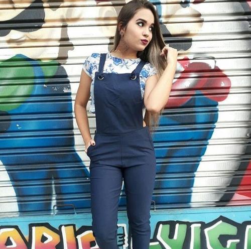 macacão jardineira barato longo bengaline feminino blogueira