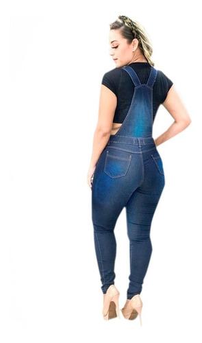 macacão jardineira calça jeans lycra longa envio rápido