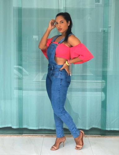 macacão jardineira jeans calça longa lycra moda qualidade