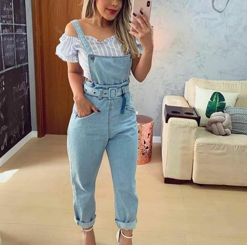 macacão jardineira jeans feminino