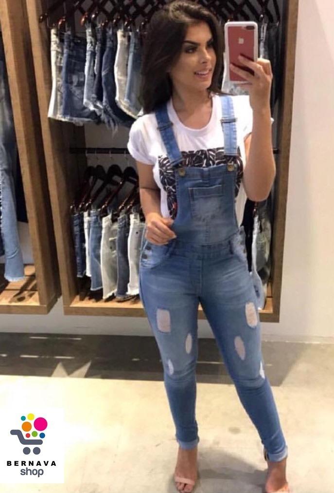 63e17ceb8e Macacão Jardineira Jeans Feminino Lixado Plus Size - R  117