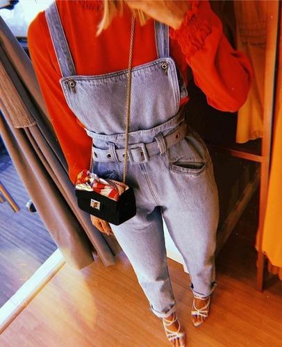 macacão jardineira jeans feminino tendência luxo