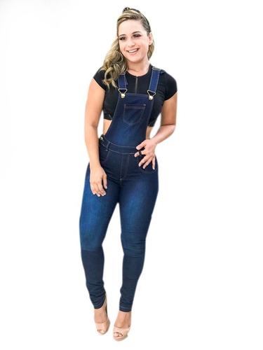 macacão jardineira jeans lycra feminina