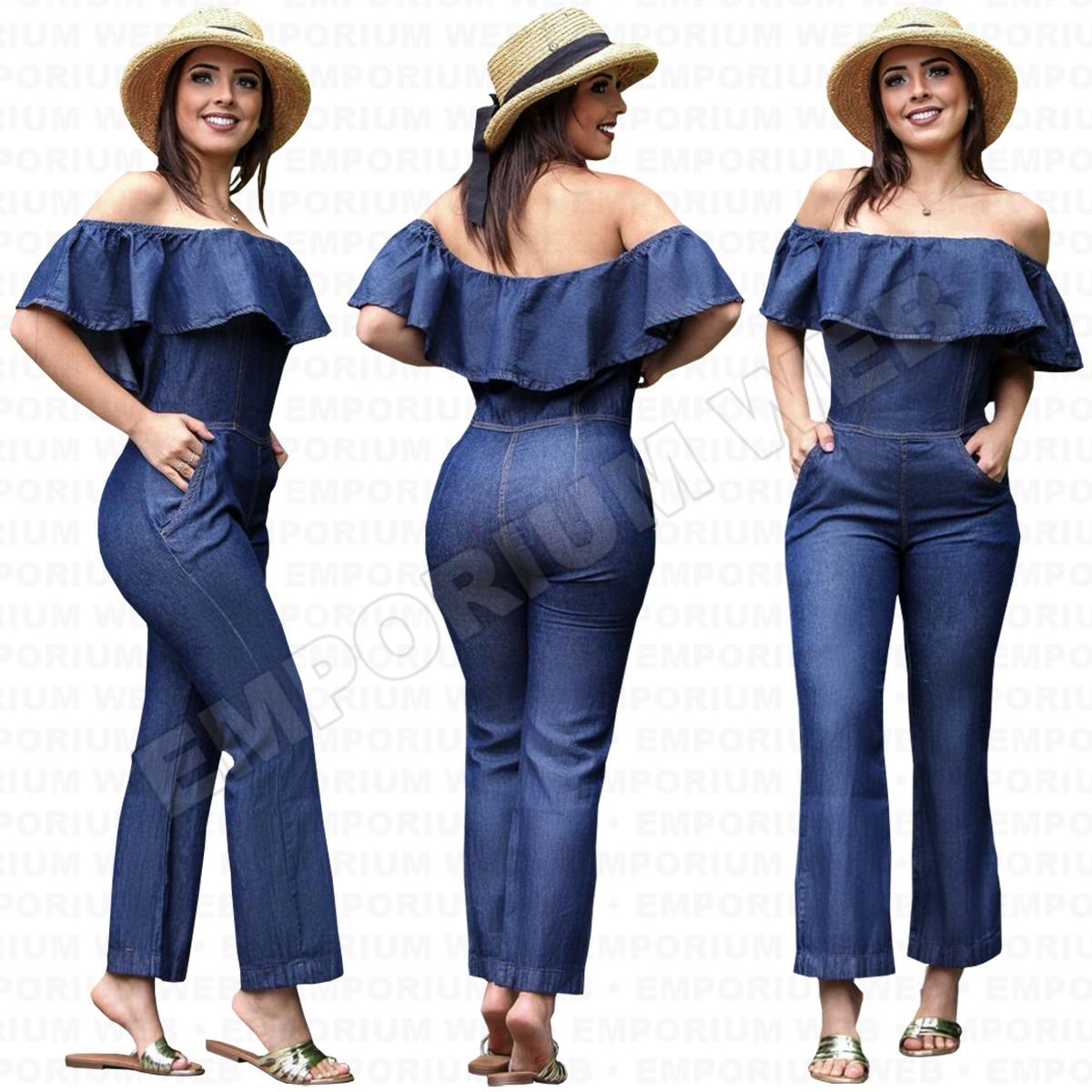 ef51f39cd6 macacão jeans feminino ciganinha tendência moda blogueira. Carregando zoom.