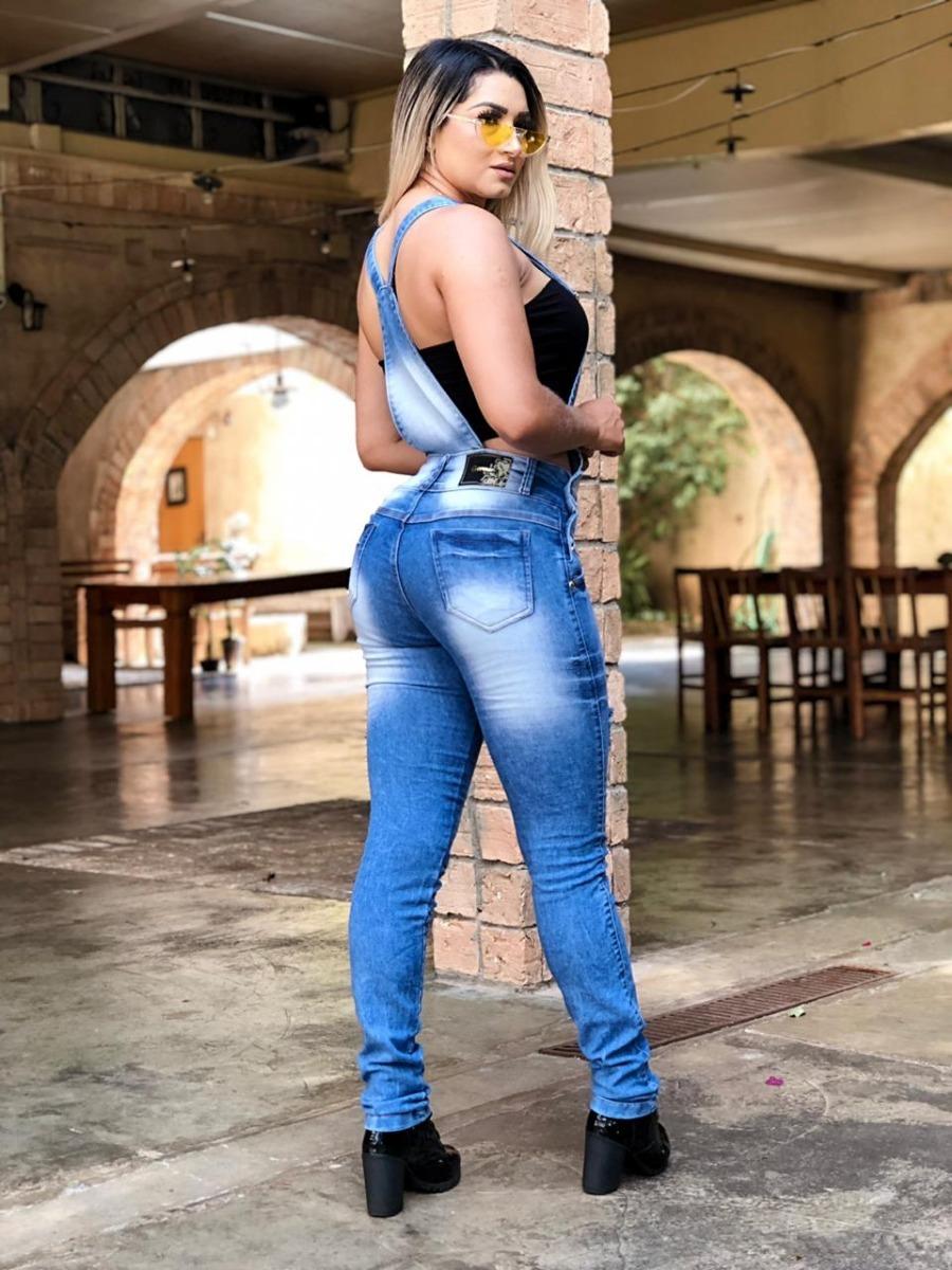 479712668f1a04 Macacão Jeans Feminino Jardineira Calça Destroyer Verão 2019