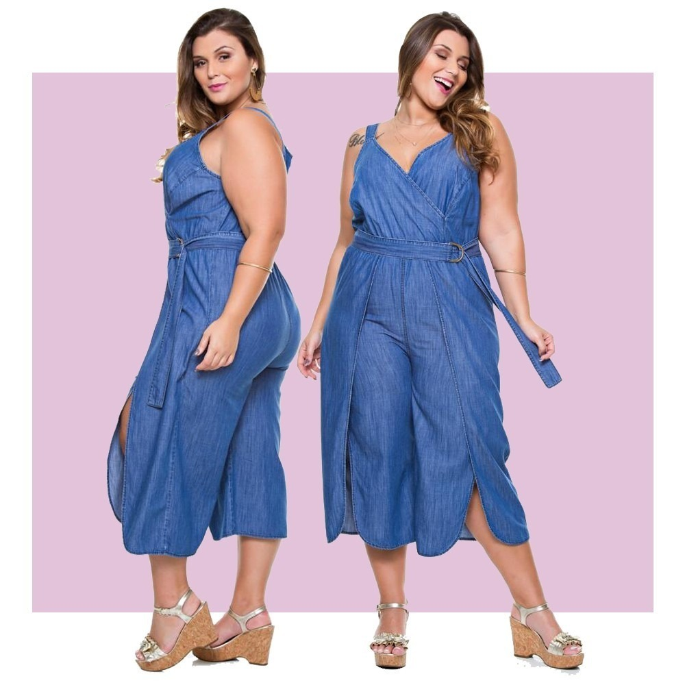 a23a7e0c7 macacão jeans feminino pantacourt com cinto plus size grande. Carregando  zoom.