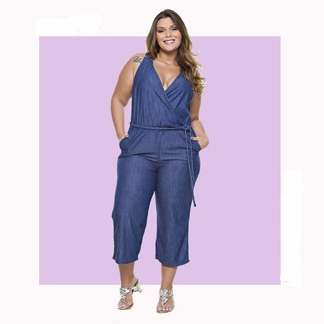 2e396b2c4 Macacão Jeans Feminino Pantacourt Plus Size Grande - R  209