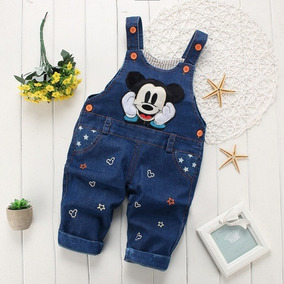 37ee94df59 Macacão Jeans Jardineira Jeans Mikey Criança Menino Disney