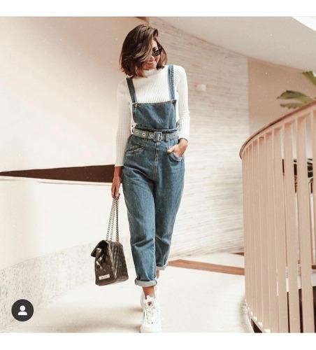 macacão jeans jardineira tendência moda luxo